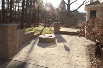 34-Paver Patio with block pillar and wing wall.